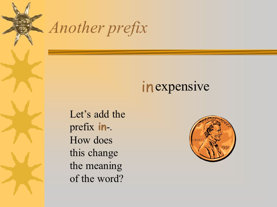 Another prefix expensive in Let's add the prefix in -. How does this change the meaning of the word?