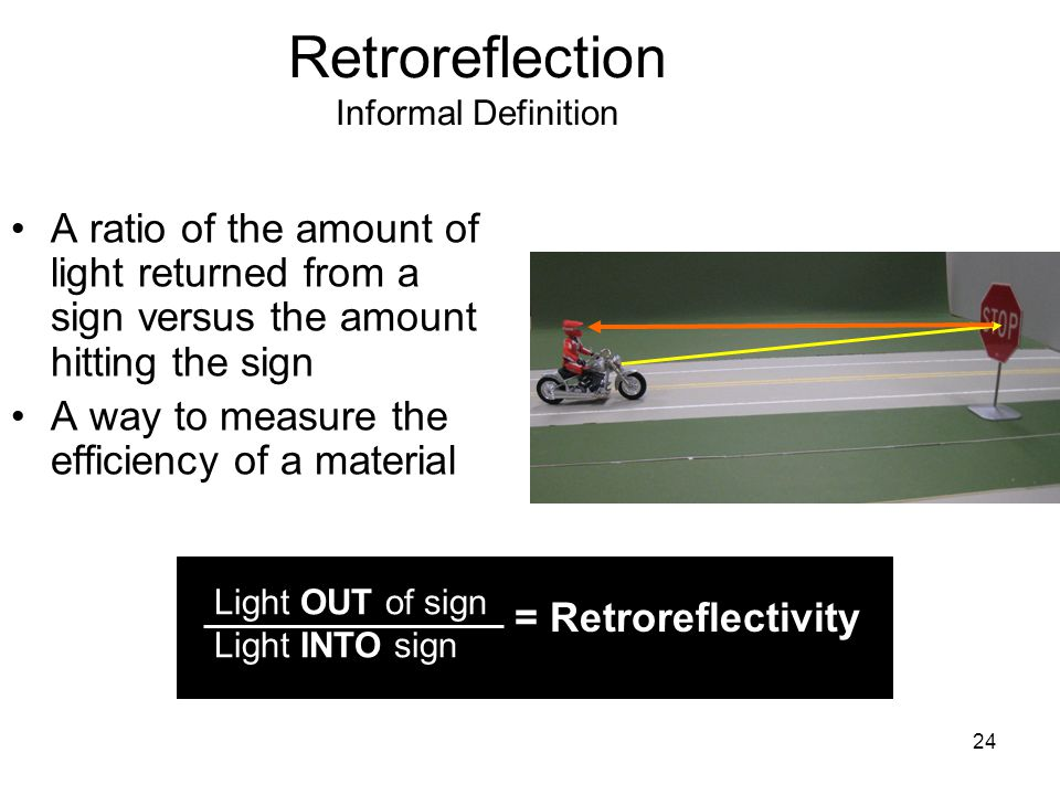 24 Retroreflection Informal Definition A ratio of the amount of light returned from a sign versus the amount hitting the sign A way to measure the efficiency of a material Light OUT of sign Light INTO sign = Retroreflectivity
