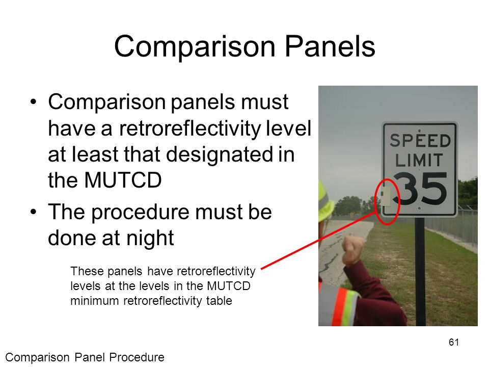 61 Comparison Panels Comparison panels must have a retroreflectivity level at least that designated in the MUTCD The procedure must be done at night These panels have retroreflectivity levels at the levels in the MUTCD minimum retroreflectivity table Comparison Panel Procedure
