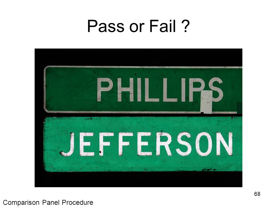 68 Pass or Fail Comparison Panel Procedure