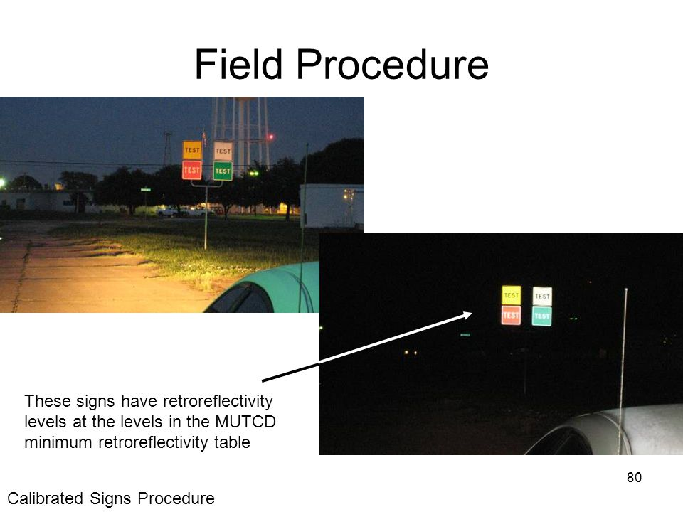 80 Field Procedure These signs have retroreflectivity levels at the levels in the MUTCD minimum retroreflectivity table Calibrated Signs Procedure
