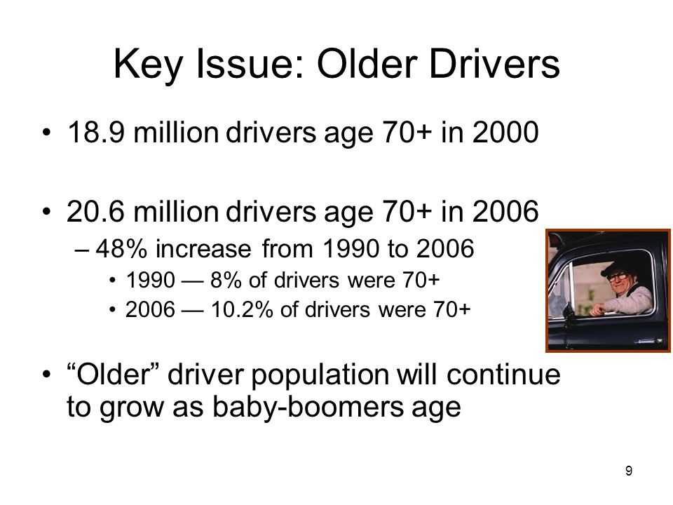9 Key Issue: Older Drivers 18.9 million drivers age 70+ in 2000 20.6 million drivers age 70+ in 2006 –48% increase from 1990 to 2006 1990 — 8% of drivers were 70+ 2006 — 10.2% of drivers were 70+ Older driver population will continue to grow as baby-boomers age