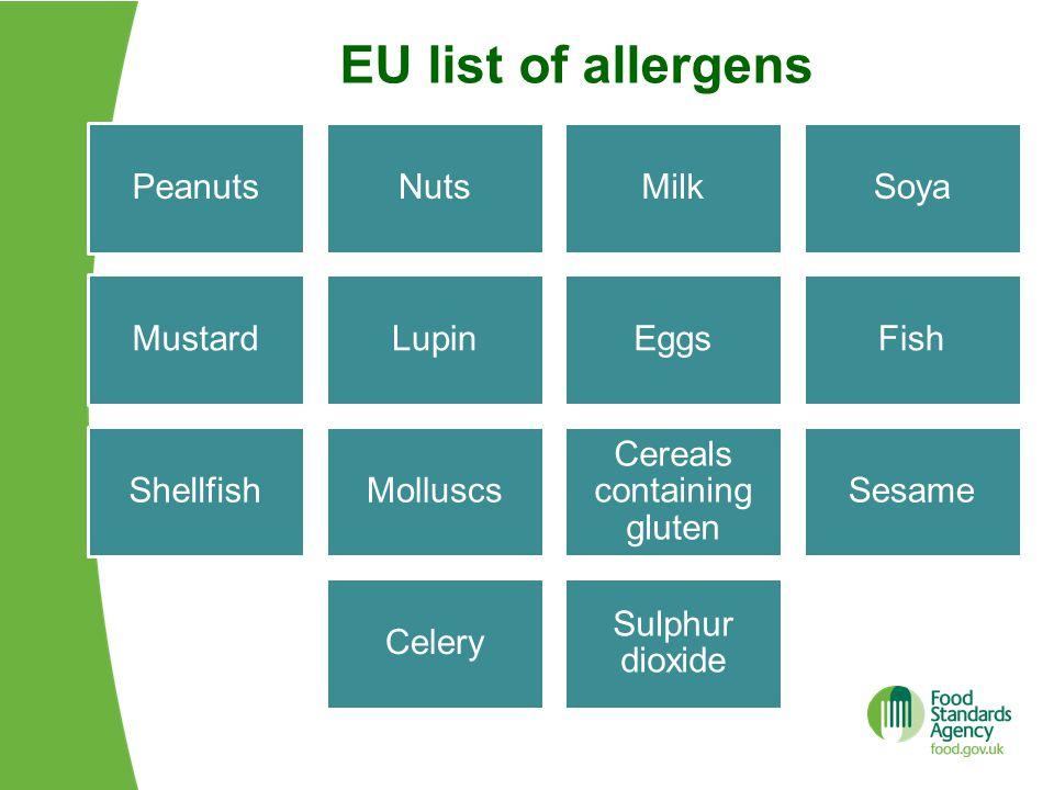EU list of allergens PeanutsNutsMilkSoya MustardLupinEggsFish ShellfishMolluscs Cereals containing gluten Sesame Celery Sulphur dioxide