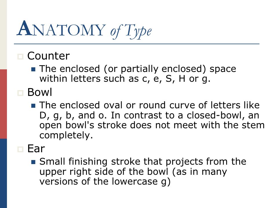A NATOMY of Type  Counter The enclosed (or partially enclosed) space within letters such as c, e, S, H or g.