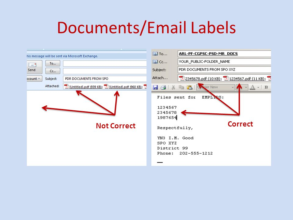 Documents/Email Labels Correct Not Correct