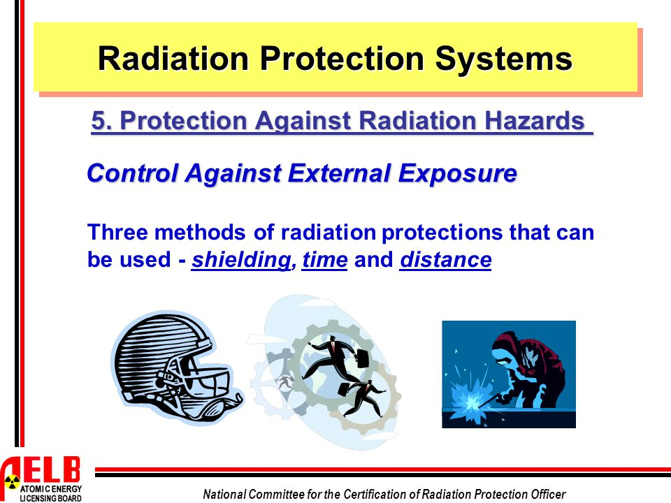 National Committee for the Certification of Radiation Protection Officer Control Against External Exposure Three methods of radiation protections that can be used - shielding, time and distance Radiation Protection Systems 5.