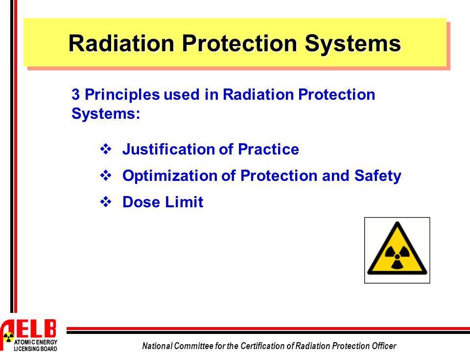 National Committee for the Certification of Radiation Protection Officer  Justification of Practice  Optimization of Protection and Safety  Dose Limit 3 Principles used in Radiation Protection Systems: Radiation Protection Systems
