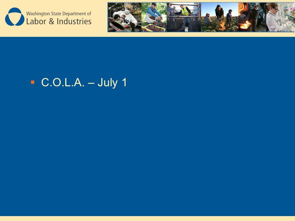  C.O.L.A. – July 1