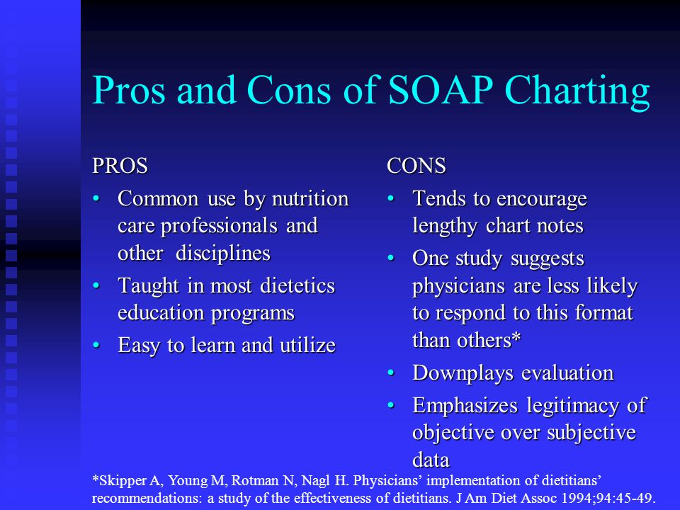 Pros and Cons of SOAP Charting PROS Common use by nutrition care professionals and other disciplinesCommon use by nutrition care professionals and other disciplines Taught in most dietetics education programsTaught in most dietetics education programs Easy to learn and utilizeEasy to learn and utilize CONS Tends to encourage lengthy chart notes One study suggests physicians are less likely to respond to this format than others* Downplays evaluation Emphasizes legitimacy of objective over subjective data *Skipper A, Young M, Rotman N, Nagl H.