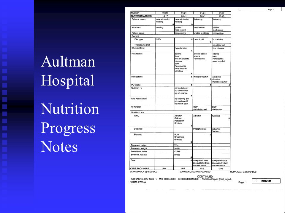 Aultman Hospital Nutrition Progress Notes