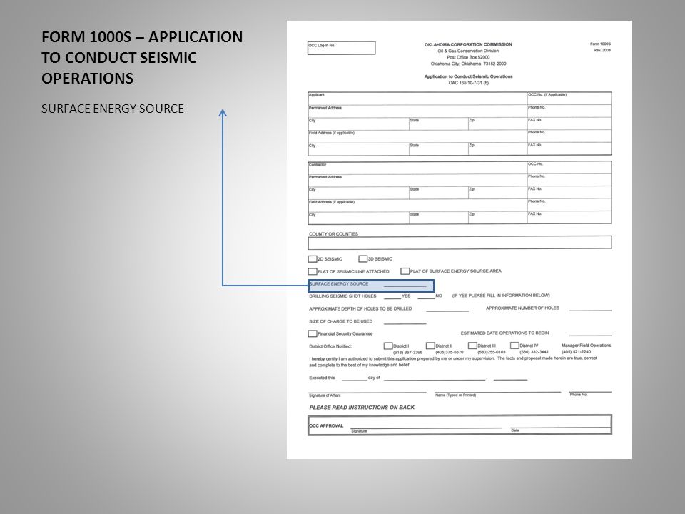 FORM 1000S – APPLICATION TO CONDUCT SEISMIC OPERATIONS DRILLING SEISMIC SHOT HOLES