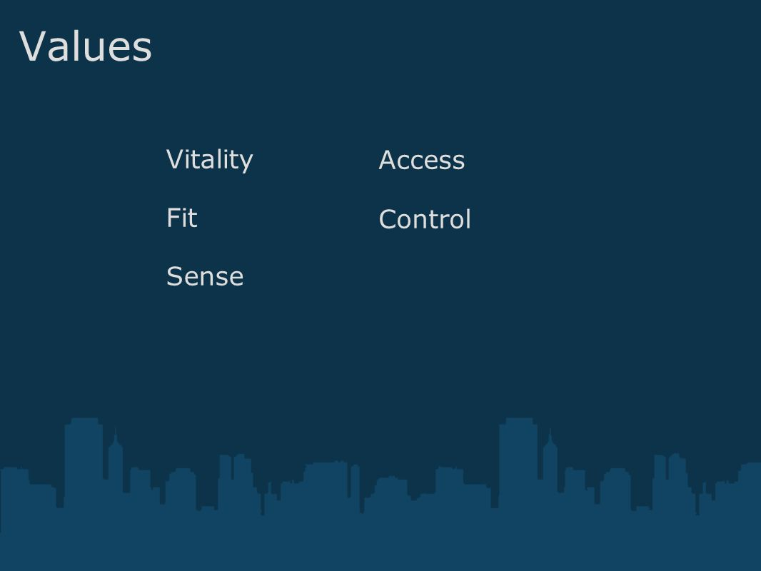 Values Vitality Fit Sense Access Control