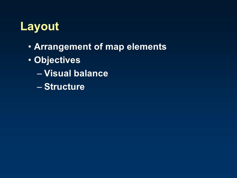 Arrangement of map elements Objectives –Visual balance –Structure