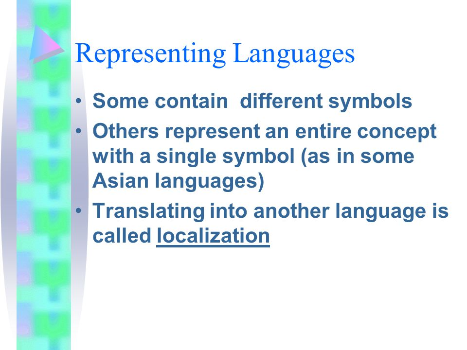 Representing Languages Some contain different symbols Others represent an entire concept with a single symbol (as in some Asian languages) Translating into another language is called localization