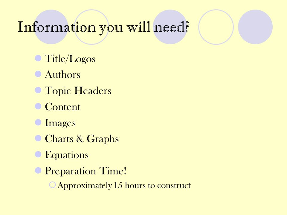 Information you will need? Title/Logos Authors Topic Headers Content Images Charts & Graphs Equations Preparation Time!  Approximately 15 hours to co