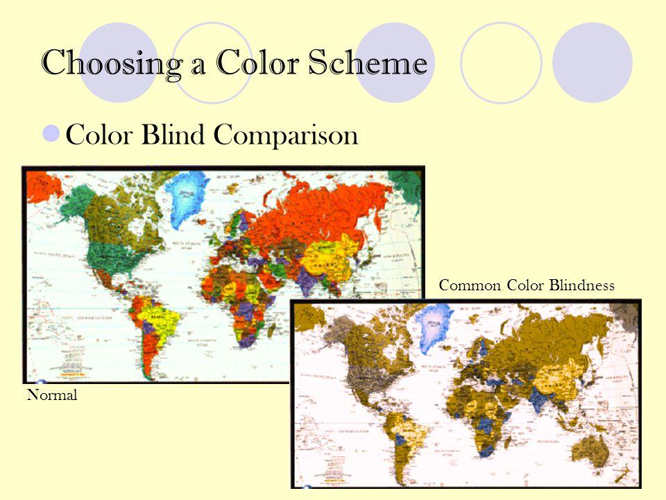 Choosing a Color Scheme Color Blind Comparison Normal Common Color Blindness