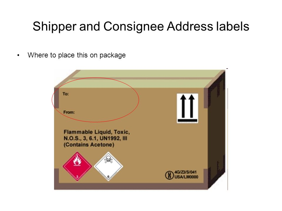 Shipper and Consignee Address labels Where to place this on package