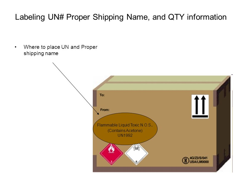 Labeling UN# Proper Shipping Name, and QTY information Where to place UN and Proper shipping name Flammable Liquid Toxic N.O.S. (Contains Acetone) UN1