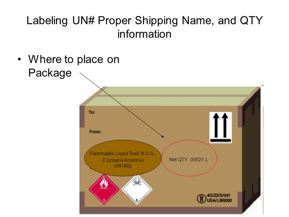 Labeling UN# Proper Shipping Name, and QTY information Where to place on Package Net QTY.00021 L Flammable Liquid Toxic N.O.S. (Contains Acetone) UN19
