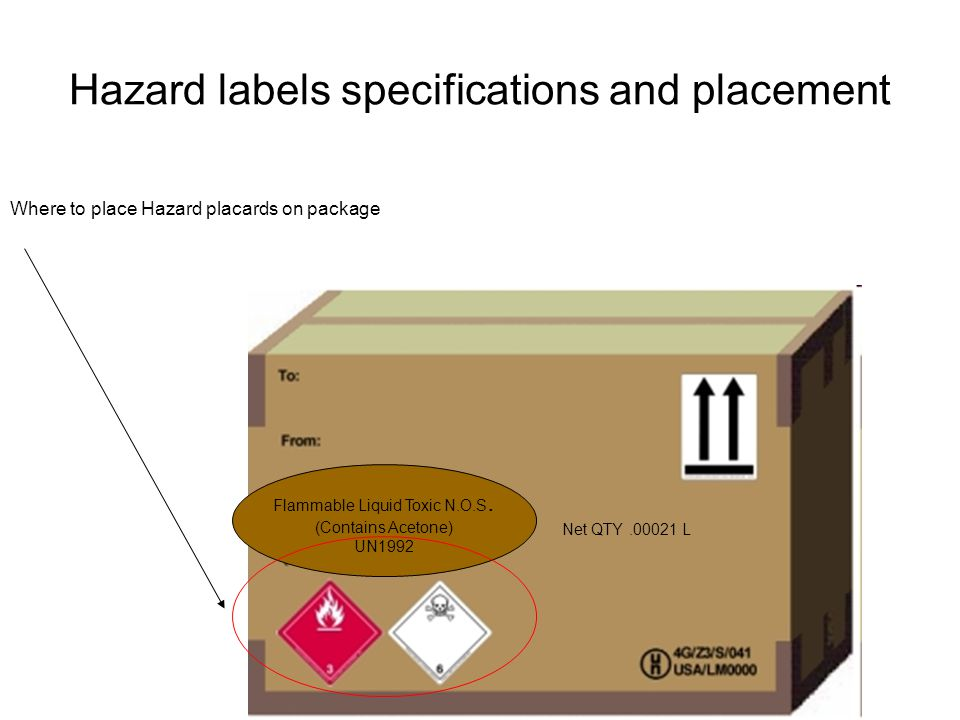 Hazard labels specifications and placement Flammable Liquid Toxic N.O.S. (Contains Acetone) UN1992 Net QTY.00021 L Where to place Hazard placards on p