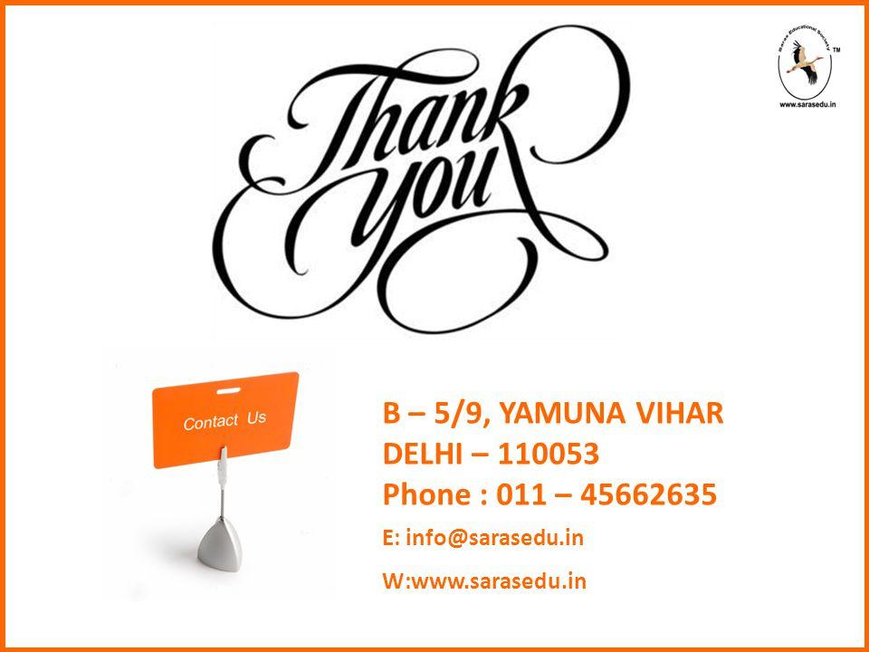 B – 5/9, YAMUNA VIHAR DELHI – 110053 Phone : 011 – 45662635 E: info@sarasedu.in W:www.sarasedu.in