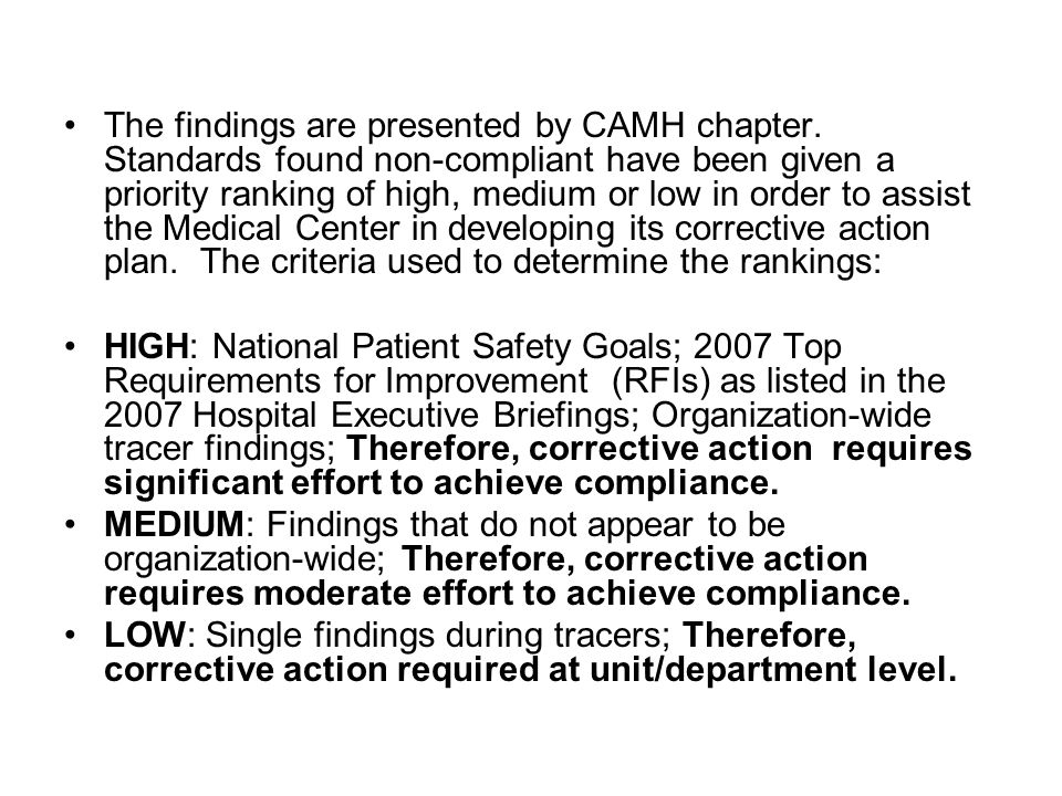 The findings are presented by CAMH chapter. Standards found non-compliant have been given a priority ranking of high, medium or low in order to assist
