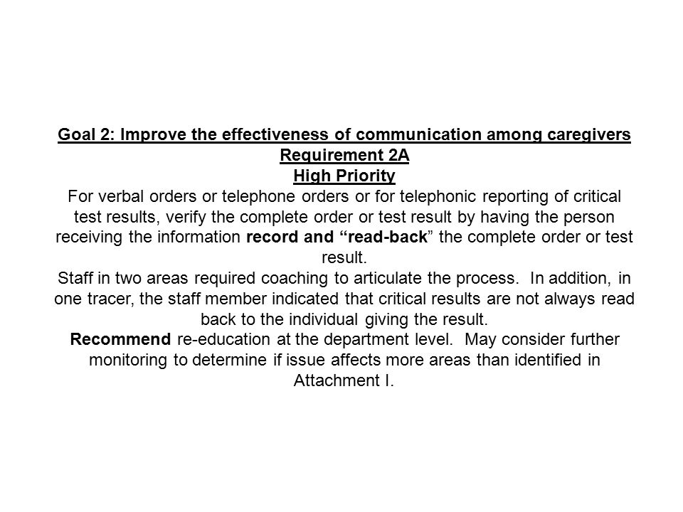 Goal 2: Improve the effectiveness of communication among caregivers Requirement 2A High Priority For verbal orders or telephone orders or for telephon