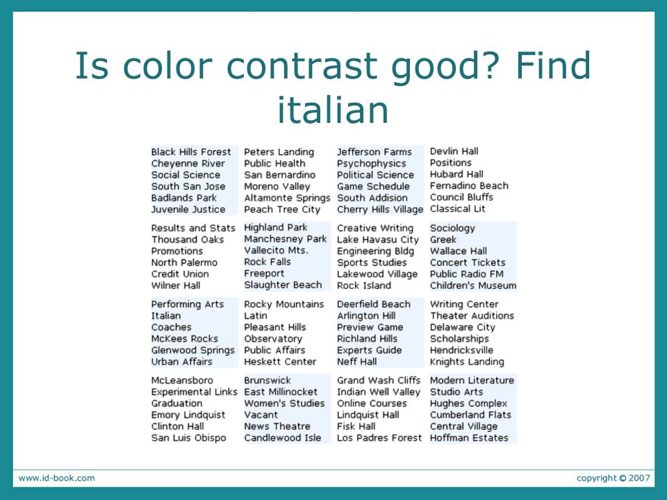 Is color contrast good Find italian