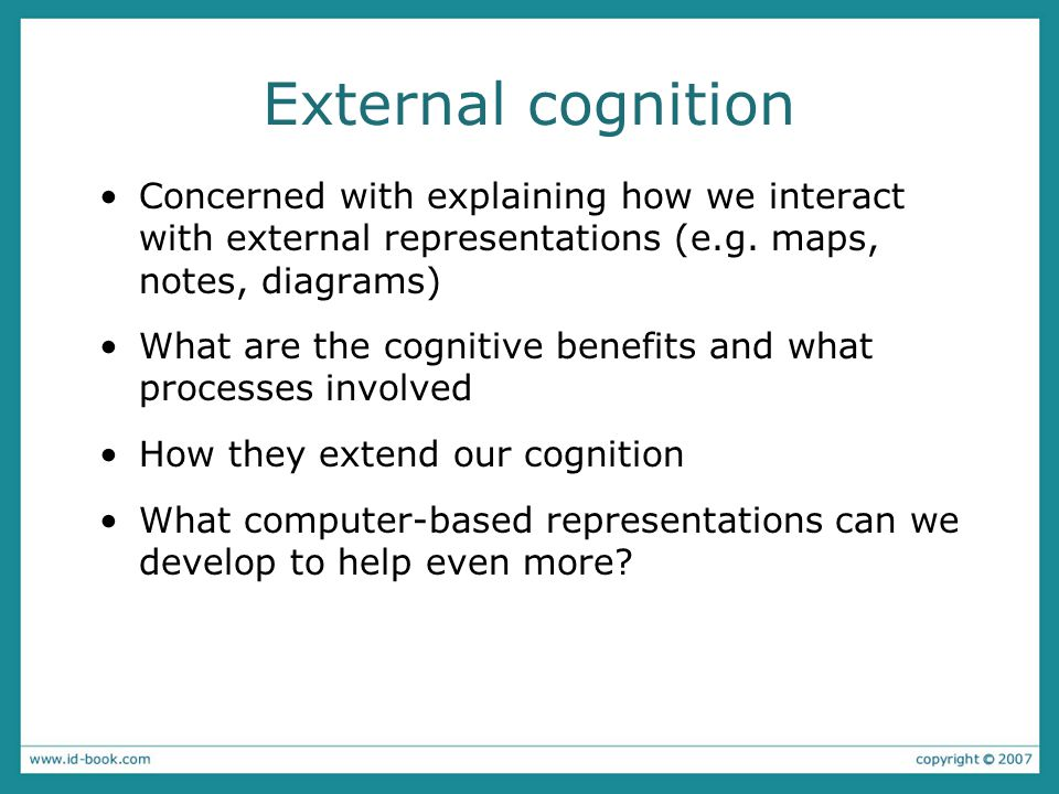 External cognition Concerned with explaining how we interact with external representations (e.g.