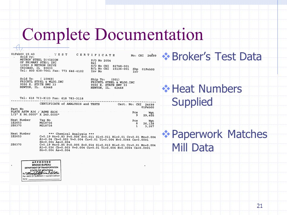 21 Complete Documentation  Broker's Test Data  Heat Numbers Supplied  Paperwork Matches Mill Data