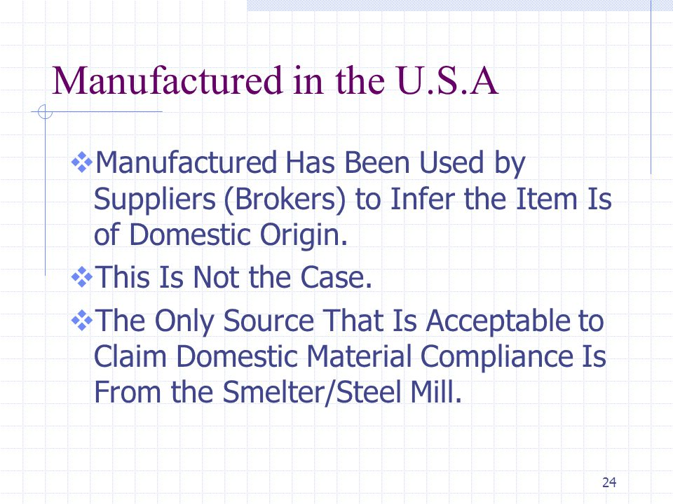 24 Manufactured in the U.S.A  Manufactured Has Been Used by Suppliers (Brokers) to Infer the Item Is of Domestic Origin.  This Is Not the Case.  Th