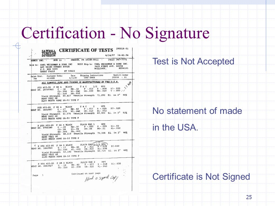 25 Certification - No Signature Test is Not Accepted No statement of made in the USA. Certificate is Not Signed