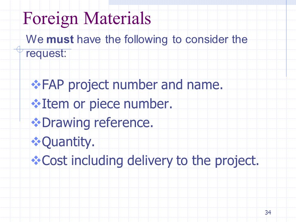 34 Foreign Materials  FAP project number and name.