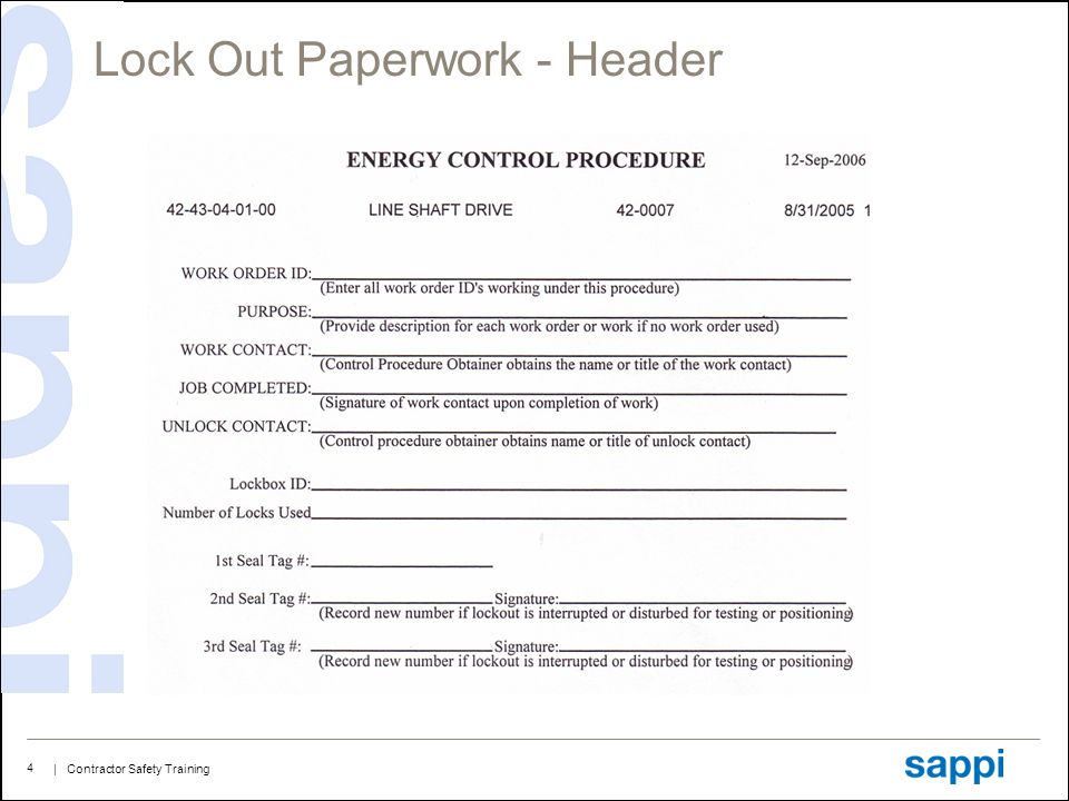 | Contractor Safety Training 4 Lock Out Paperwork - Header