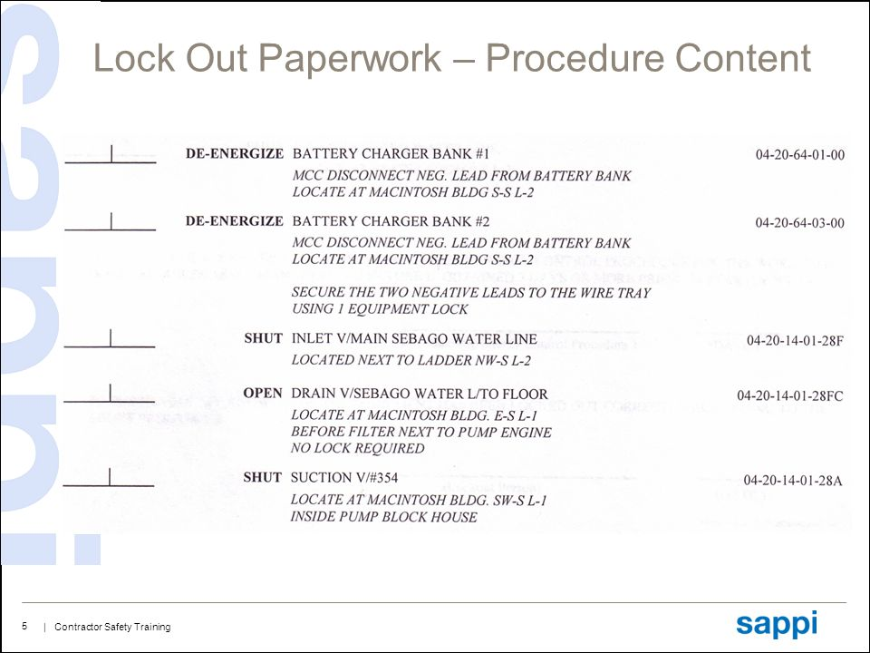 | Contractor Safety Training 5 Lock Out Paperwork – Procedure Content