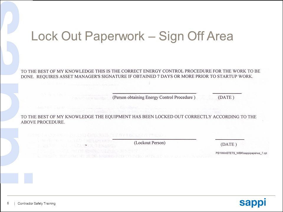 | Contractor Safety Training 6 Lock Out Paperwork – Sign Off Area