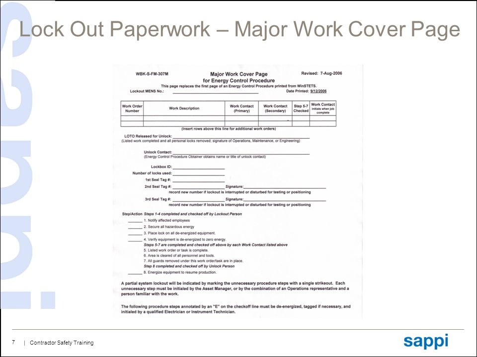 | Contractor Safety Training 7 Lock Out Paperwork – Major Work Cover Page