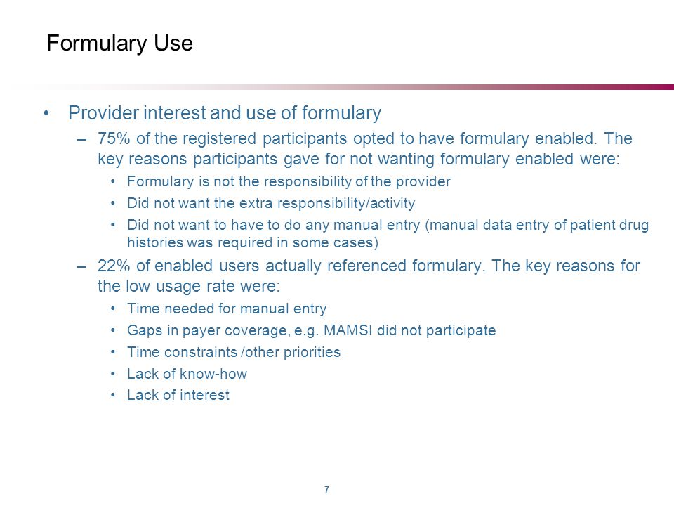 7 Formulary Use Provider interest and use of formulary –75% of the registered participants opted to have formulary enabled.