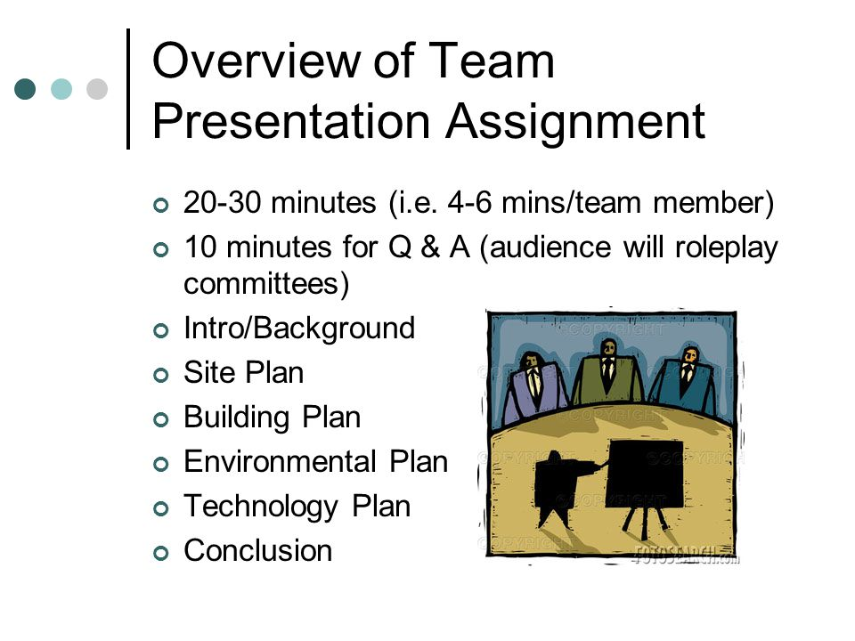 Overview of Team Presentation Assignment 20-30 minutes (i.e.