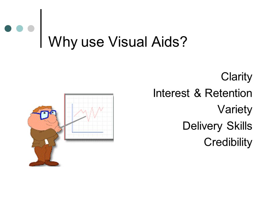 Why use Visual Aids Clarity Interest & Retention Variety Delivery Skills Credibility