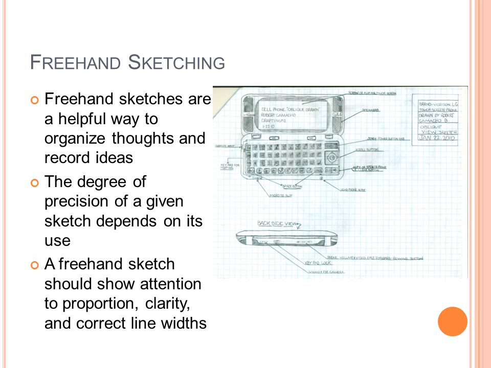 F REEHAND S KETCHING Freehand sketches are a helpful way to organize thoughts and record ideas The degree of precision of a given sketch depends on its use A freehand sketch should show attention to proportion, clarity, and correct line widths