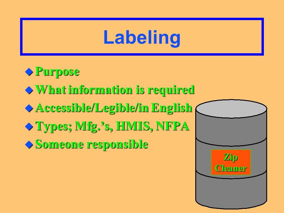 Material Safety Data Sheets (MSDS) u Purpose u What Information they provide u Readily accessible/complete/retain u Someone responsible