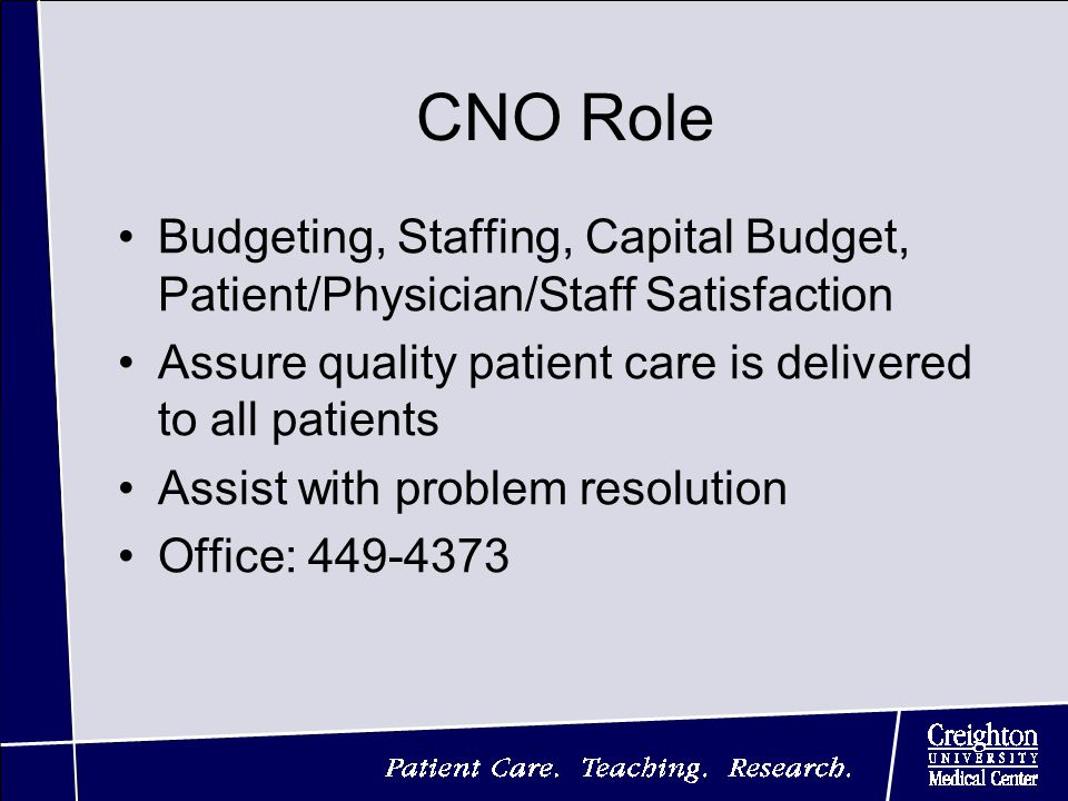 CNO Role Budgeting, Staffing, Capital Budget, Patient/Physician/Staff Satisfaction Assure quality patient care is delivered to all patients Assist with problem resolution Office: 449-4373