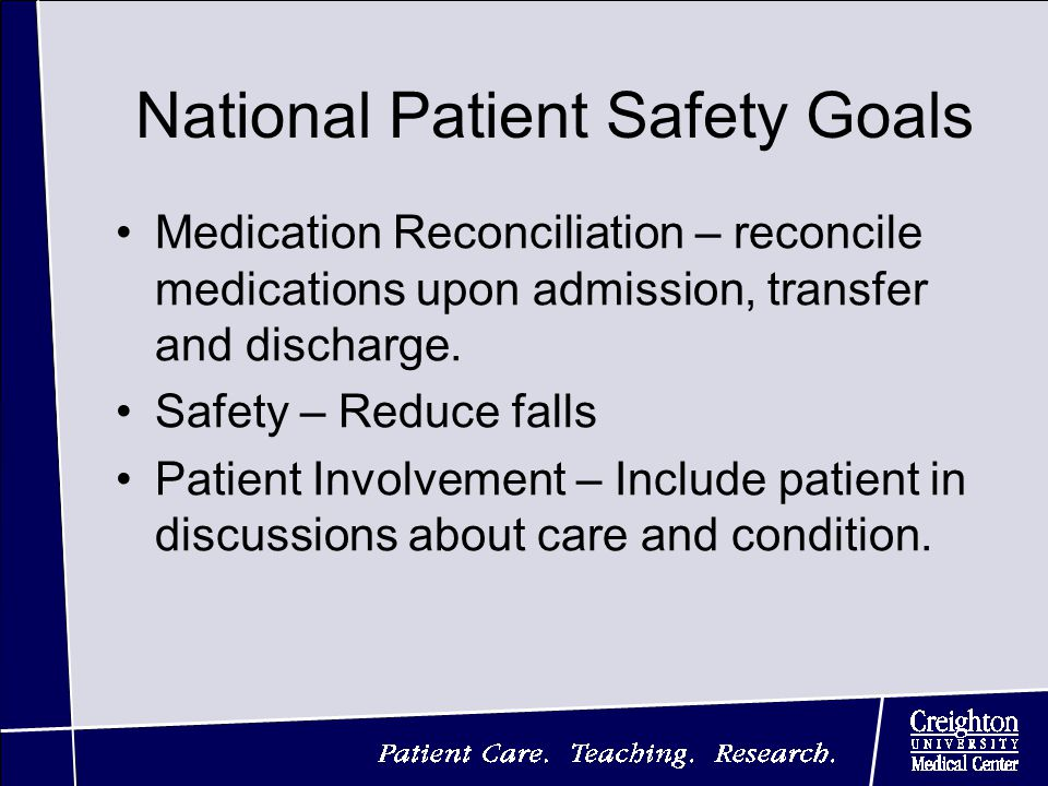 National Patient Safety Goals Medication Reconciliation – reconcile medications upon admission, transfer and discharge.