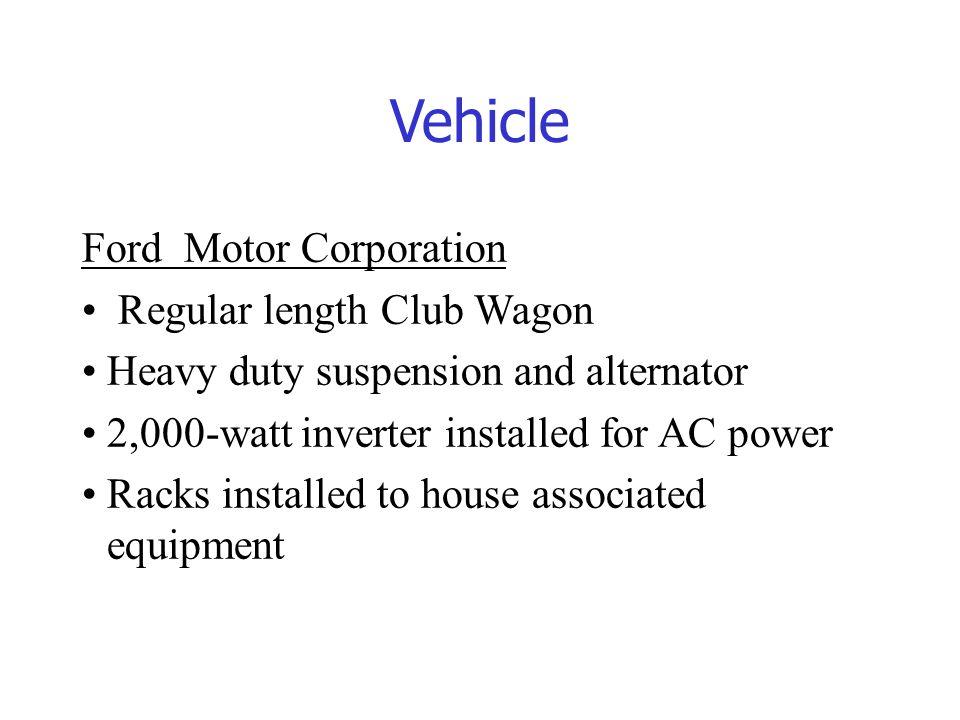Vehicle Ford Motor Corporation Regular length Club Wagon Heavy duty suspension and alternator 2,000-watt inverter installed for AC power Racks install