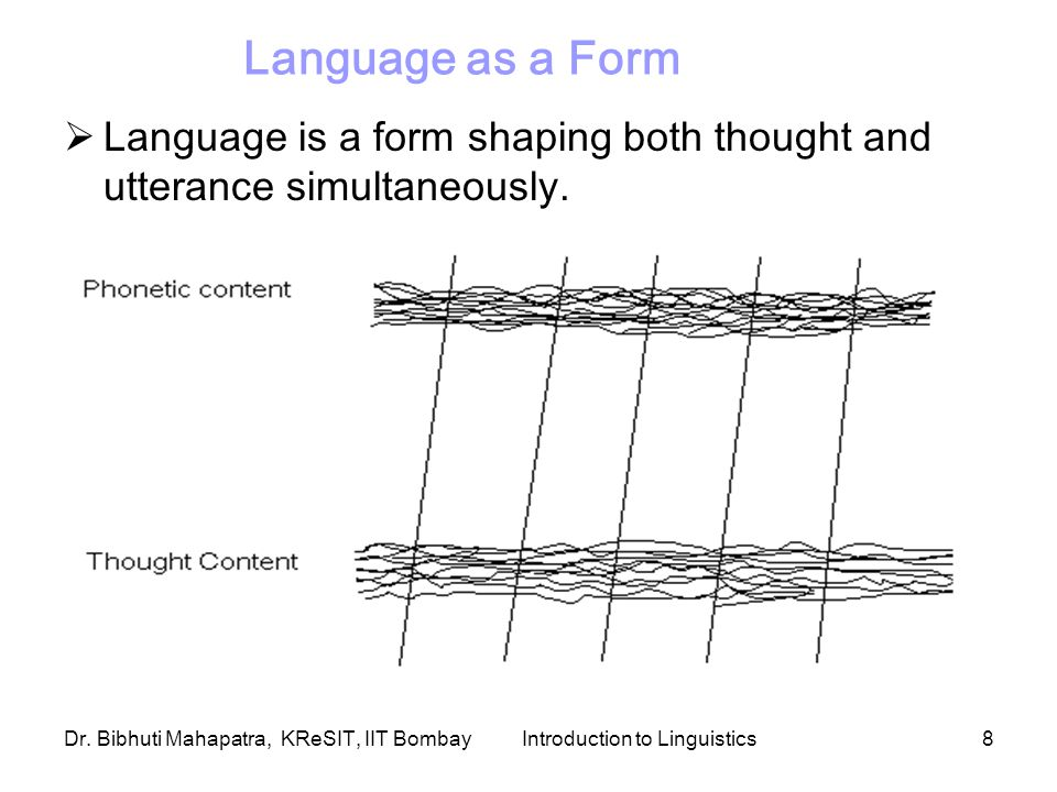 Dr. Bibhuti Mahapatra, KReSIT, IIT BombayIntroduction to Linguistics8 Language as a Form  Language is a form shaping both thought and utterance simul
