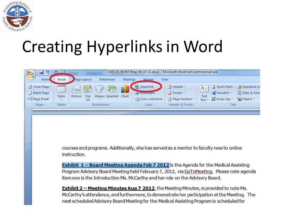 Creating Hyperlinks in Word