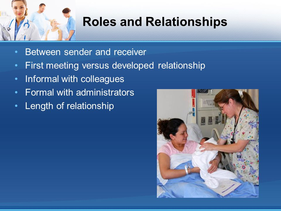 Roles and Relationships Between sender and receiver First meeting versus developed relationship Informal with colleagues Formal with administrators Le