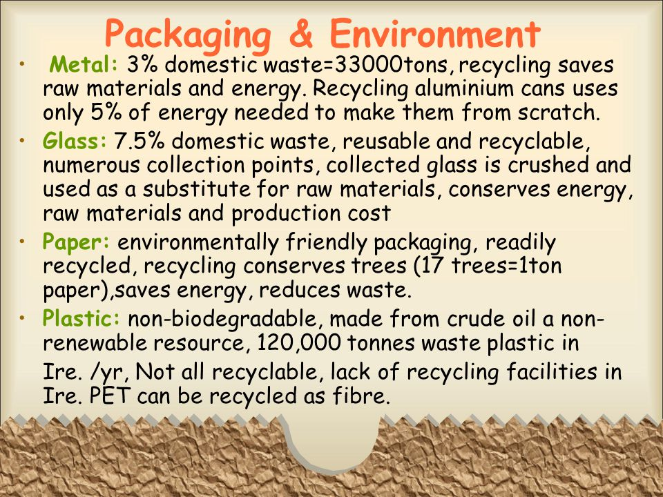Packaging & Environment Metal: 3% domestic waste=33000tons, recycling saves raw materials and energy.