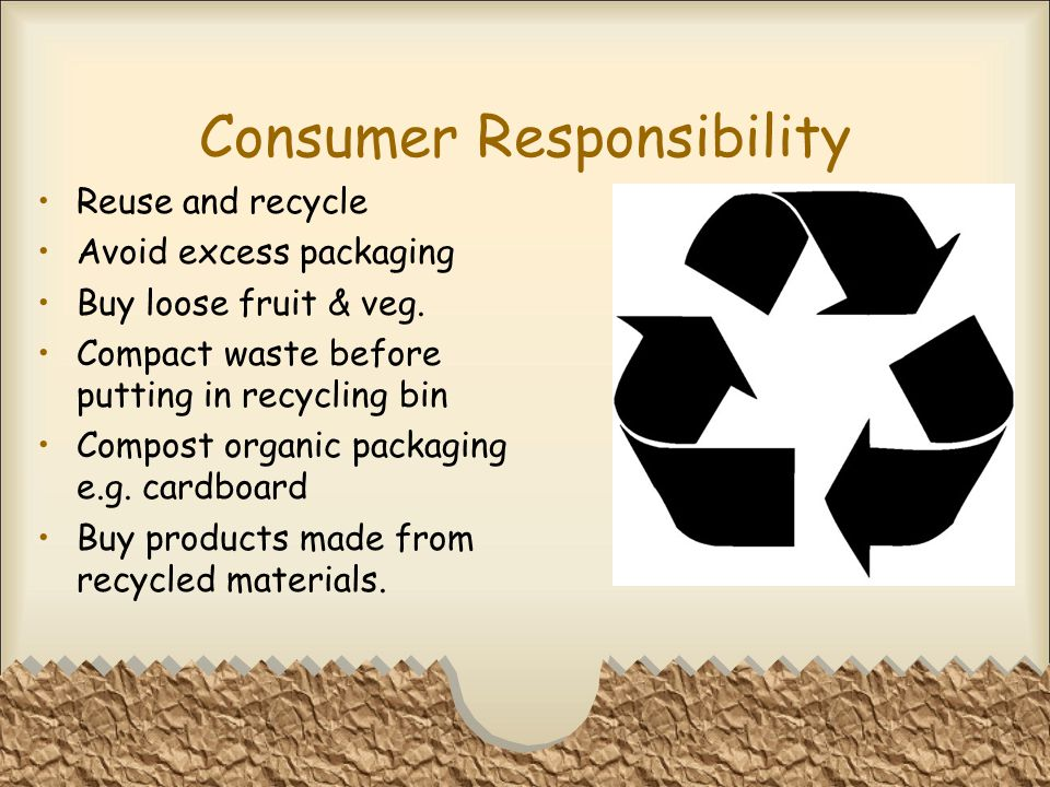 Consumer Responsibility Reuse and recycle Avoid excess packaging Buy loose fruit & veg.